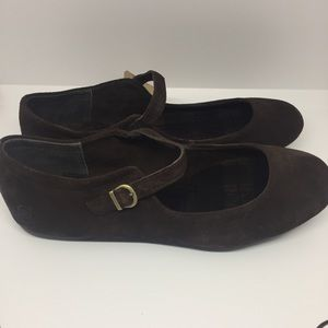 NWT Born Brown Suede Mary Jane Flats